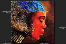 Cuadros de inspiraciones africanas / Cuadros modernos inspirados en las culturas africanas