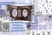 CraftEmotions Romantic Provence / A collection matching products for cardmaking, mixed media and more. Available products: decorated paperstack, clearstamps, masks, wooden ornaments. Available end March 2015.