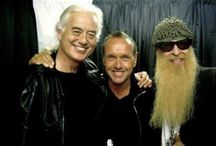 Jimmy Page with Billy Gibbons of ZZ Top and…
