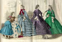 Victorian Fashions / From Godey's Ladies Book - 19th century hand-colored fashion plates.