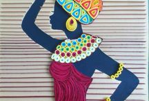 Quilled lady with basket