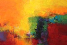 Abstracte acryl schilderijen