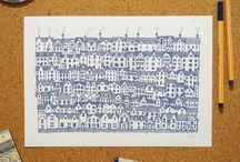 """Cidades Azuis / Ilustrações da coleção """"Cidades Azuis"""" por Gabriel Dyonisio."""