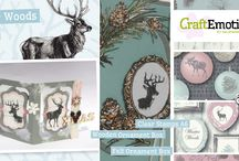 CraftEmotions Winter Woods / A collection matching products for cardmaking, mixed media and more. Available products: decorated paperstack, clearstamps, masks, wooden ornaments
