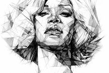geometric potrait drawing