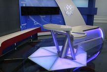 Телеканал Совета Федерации «Вместе-РФ» / Изготовлен студийный стол для телеканал Совета Федерации «Вместе-РФ»,материал LG HiMacs s005 Gray