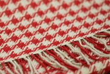 """Pied de Poule"" Scarf / Classic design with red and beige checkered, easy to combine with clothes in full color.  Made of 100% Baby Alpaca."