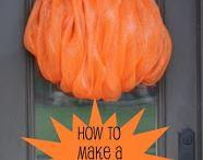 How to make a deco mesh pumpkin / Make pumpkin wreath