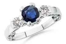 Round Blue Sapphire and Diamond Three Stone Ring
