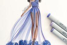 šaty kresba