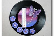 THERMOMETRES DECORATIFS INTERIEUR / sur disque vynile 45 tours décorés, thermomètres d 'intérieur