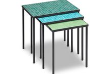 """Nesting Tables / MATERIALS: Powdercoated steel with glass tile FRAME COLOR: matte black, espresso, and cream TILE COLOR: ilac, cobalt, dark cobalt blue, turquoise, ixtapa blue, acapulco blue, aqua blue, emerald green, cuernavaca green, aqua green, bright yellow, peach, tangerine, vermillion, scarlet, oyster white, pearl gray, honey, dark honey, tobacco DIMENSIONS: 16"""" H x 12 3/4"""" W x 12 3/4"""" D DIMENSIONS: 17"""" H x 15 1/4"""" W x 12 3/4"""" D DIMENSIONS: 18"""" H x 17 1/2"""" W x 12 3/4"""" D Custom colors and sizes available"""