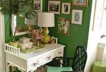 Green walls/white desk