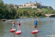 "Stand Up Paddling auf dem Main / Am Stadtstrand Würzburg ""bugwelle"""
