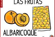 Las frutas en español / Vocabulario basico, español inicial. Aprender el nombre de las frutas en español