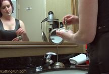 Kat's Face Shave in a Black Rubber Dress