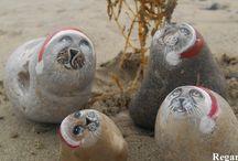 Regards de phoques / Réalisation sur galet de regards de phoques