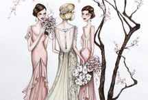 Fashion Bridal Illustrations / Weddings captured in Alexandra Nea original, whimsical, willowy fashion style caricatures