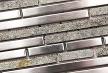 Metal Backsplash Tile / Modern, bold shimmering detail with metal backsplash tile. Great for kitchens and bathroom exterior walls.