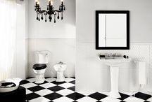 Black and White Bliss / Black and white tile bathroom