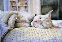 Cat Art Paintings by Nancee Jean Busse / Cat Art Paintings by Nancee Jean Busse