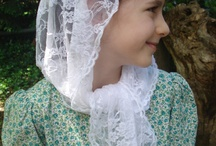 Girls' Chapel Veils / Here's Rosa Mystica's line of little girl chapel veils in five classic styles: the chapel cap, the kerchief style, a longer veil that ties under the chin, a triangular and half-circle veil. All come with a sewn in clip, an organza carrying pouch and free shipping make these veils a great value! http://rosamysticamantilla.com/little-girls-chapel-veils.php