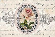 szöveg virág színes transzfer / flower text transfer colorful Vintage