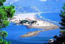 Дальян-Турции (Dalyan-Turkey) /   Дальян – известный курорт в провинции Мугла со своей уникальной географией и природой. Расположившийся на одноименной реке, недалеко от ее впадения в Эгейское море. Этот город привлекает множество европейских туристов, ищущих здесь уединение и безмятежный отдых. Пейзаж соединяет в себе самые красивые оттенки зеленого и синего цветов, а всемирно известный черепаший пляж притягивает любителей дикой природы. Пляж Изтузу длиной 5,5 км также носит название «Черепаший берег». Именно здесь откладывают яйца черепахи Каретта, превращая это место в чудо природы. Каретта достигают полтора метра в длину и весят до 150 кг. Так что если Вы захотите понаблюдать как за большими морскими черепашками, так и за невероятным зрелищем «продолжения рода», обязательно посетите это место. Это единственные в мире представители данной породы, и именно здесь они начинают свою жизнь, распространяясь по всему миру. Так же в пресных водах Дальяна обитают метровые египетские черепахи Нила. Смешивающиеся пресные и соленые воды создают уникальные условия для флоры и фауны, превращая Дальян в райский уголок. Не обделен район и с исторической точки зрения. Как и во всей Турции здесь можно найти памятники османской, ликийской, византийской, античной греческой культур. Недалеко от Дальяна находится древний город Кунос, являющийся предметом многочисленных легенд  и приданий. Также курорт привлекает людей, желающих поправить здоровье. На реке расположены грязелечебницы и спа-салоны. Здесь лечат ревматизм, радикулит, нервную систему, проблемы с обменом веществ, артрозы и остеопороз, кожные заболевания. Недаром в Дальян перебираются очень многие пенсионеры из Европы на постоянное место жительство, создав здесь небольшую колонию. Однако не стоит ждать старости, чтобы поправить свое здоровье, увидеть невероятную природу, понаблюдать за ужасно милыми черепахами и насладиться всемилюбимым климатом Турции. Посетите Дальян и Вы точно останетесь довольны, а положительных впечатлен