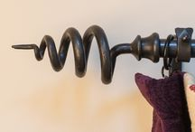 Wrought Iron Curtain Poles / We design and make wrought iron curtain poles with handmade finials in our Yorkshire forge using traditional techniques.  See our selection here. Made to measure.