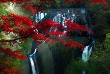 MB Japan / Hory, vodopad v pozadi, most k vezi/domu, barevny stromy, dramaticka obloha