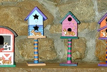 Bird Houses Hand Painted / www.petart.net and www.corgiart.net  My hand painted bird houses are meant for indoor decorating.