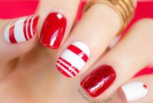 red n white nails