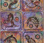 Aboriginal design Coasters & Placemats / unfortunately I am not as automated as I would like to be however if you wish to place an order just send email with all your relevant postal details so that postage can be calculated and a tax invoice issued with payment details noted - payments can be made by direct deposit - credit card or cheque/money order