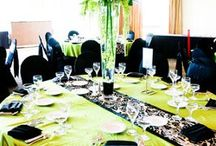 emerald green, blk & gold decor