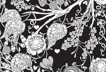 Desenhos com fundo preto para colorir
