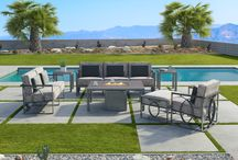 Sunrise Collection / With a combination of crisp angles and a large intertwined side graphic, the CASTELLE SUNRISE collection captures contemporary chic. The slender profile and tailored cushions makes this a collection for any size outdoor space.