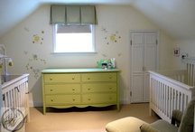 Baby's Room / This baby's room is designed for a baby boy and a girl, twin babies. We choose a very soft pale yellow for the walls and as a feature wall we added some children's stencils. Parsons interiors installed a honey-cone blackout blind, and as a window treatment we customized a Roman box pleat valence to soften the window. It added warmth and colour to the room. The fabric we selected was a beautiful strip and the colour complemented the furnishings.