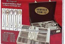 Sterlingcraft® High-Quality, Heavy-Gauge Stainless Steel 72pc Flatware Set with Gold Trim / Hosting a dinner party for close friends and relatives would definitely be a little more classy with a complete set of Sterling Silver utensils  Add some sparkle and elegance to the dinner table with the Sterlingcraft® High-Quality, Heavy-Gauge Stainless Steel 72pc Flatware Set with Gold Trim  Order one now from http://shop.oceantailer.com/inventory/detail/166617  #dinnerparty #silverware