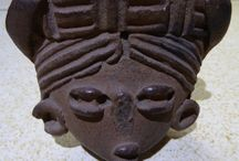 Terra cotta head / South American and was excavated in the 1950s on a dig in Tehotehuecan ,Mexico.