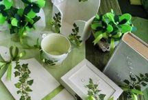 Green Ivy Leaf Ornaments