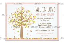 Fall in Love Autumn Tree Pink Baby Shower / This design features an autumn tree with falling leaves in the colours yellow, brown, orange, brown, green and pink! Leaves have gathered at the bottom. There is a pink border with a grain effect to it to give it a glittery look. Perfect for Baby Shower or Bridal Shower!