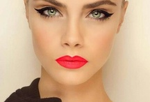 Red Lips and eyeliner