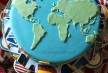 mapa světa dort