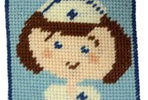 """Mini starter tapestry needlepoint kits / Small 4"""" starter tapestry kits - great fun for adults and ideal to teach children how to stitch. They look great in a child's bedroom or playroom."""
