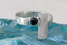 Black Spinel silver rings handmade contemporary silver rings