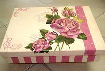 Cajas y Objetos varios con Decoupage y pintadas.