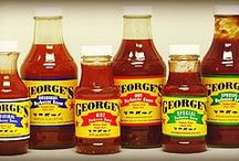 "George's BBQ Sauces / Our award-winning traditional Eastern North Carolina vinegar and red pepper sauce, lightly sweetened with apples... Original & Hot... AND, our ""special"" tomato based sauce too!"
