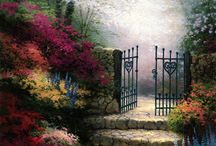 Thomas Kinkade / LOVE HIS PAINTINGS, COTTAGES ARE BEAUTIFUL. / by Grace Dunn