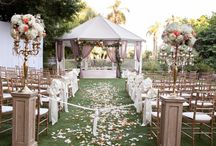 peachy white wedding