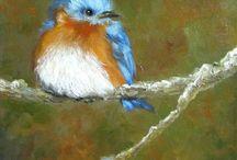 vogel op canvas